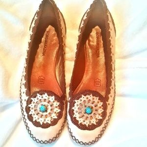 BCBG Embroidered Flats